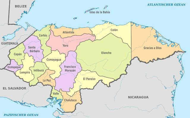 honduran districts map